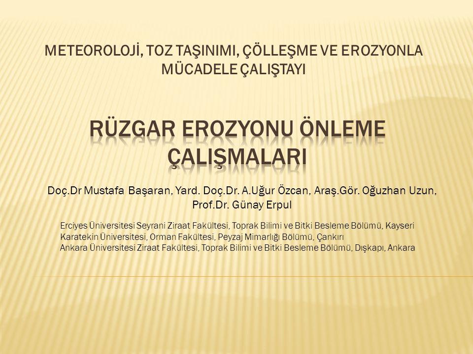 METEOROLOJİ, TOZ TAŞINIMI, ÇÖLLEŞME VE EROZYONLA MÜCADELE ÇALIŞTAYI Doç.Dr Mustafa Başaran, Yard. Doç.Dr. A.Uğur Özcan, Araş.Gör. Oğuzhan Uzun, Prof.D