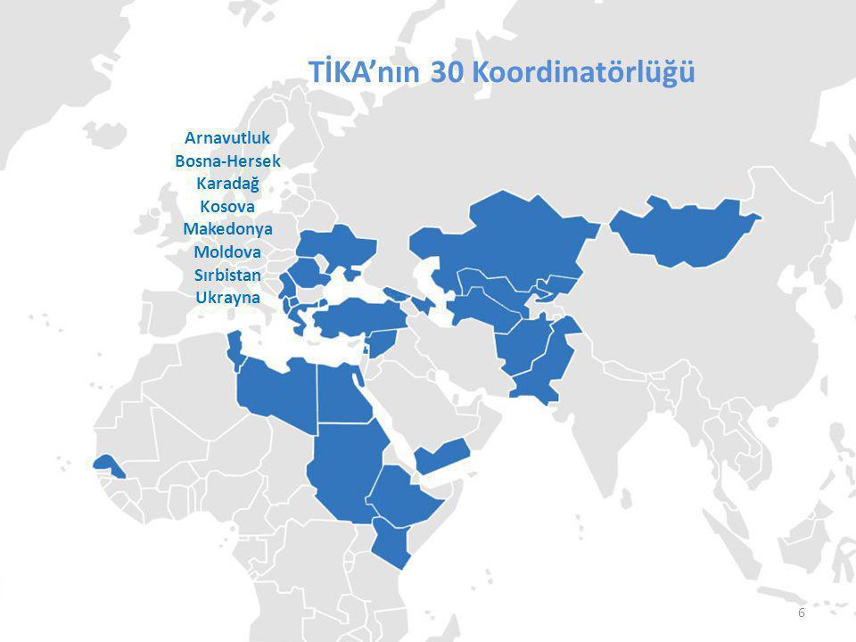 TİKA'nın Koordinatörlükleri TİKA'nın 30 Koordinatörlüğü Arnavutluk Bosna-Hersek Karadağ Kosova Makedonya Moldova Sırbistan Ukrayna Senegal Tunus Libya Mısır Somali Sudan Kenya Etopya 7