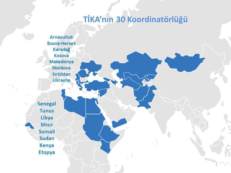 TİKA'nın Koordinatörlükleri TİKA'nın 30 Koordinatörlüğü Arnavutluk Bosna-Hersek Karadağ Kosova Makedonya Moldova Sırbistan Ukrayna Senegal Tunus Libya Mısır Somali Sudan Kenya Etopya Filistin Lübnan Suriye Yemen 8