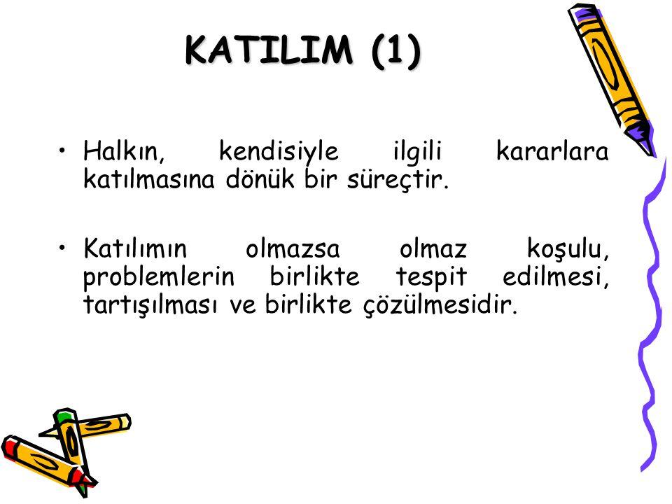 KATILIM (1) Halkın, kendisiyle ilgili kararlara katılmasına dönük bir süreçtir. Katılımın olmazsa olmaz koşulu, problemlerin birlikte tespit edilmesi,