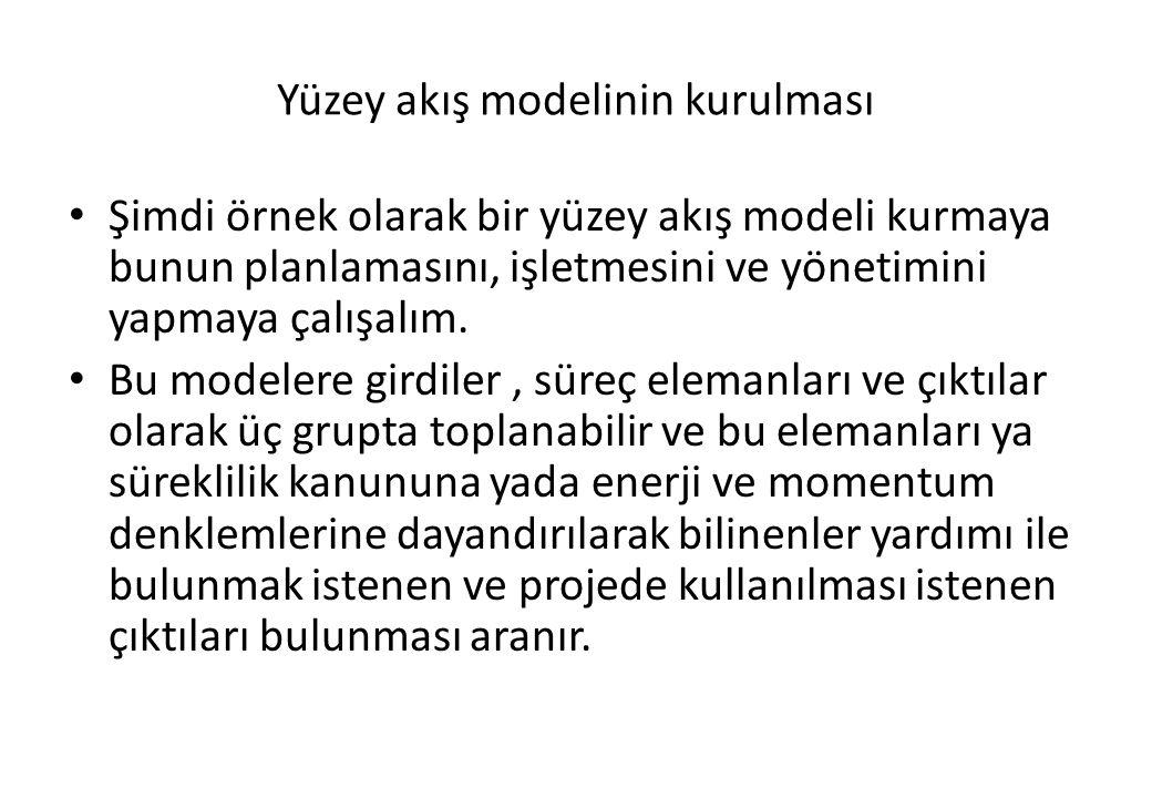 Yüzey akış modelinin kurulması Şimdi örnek olarak bir yüzey akış modeli kurmaya bunun planlamasını, işletmesini ve yönetimini yapmaya çalışalım. Bu mo