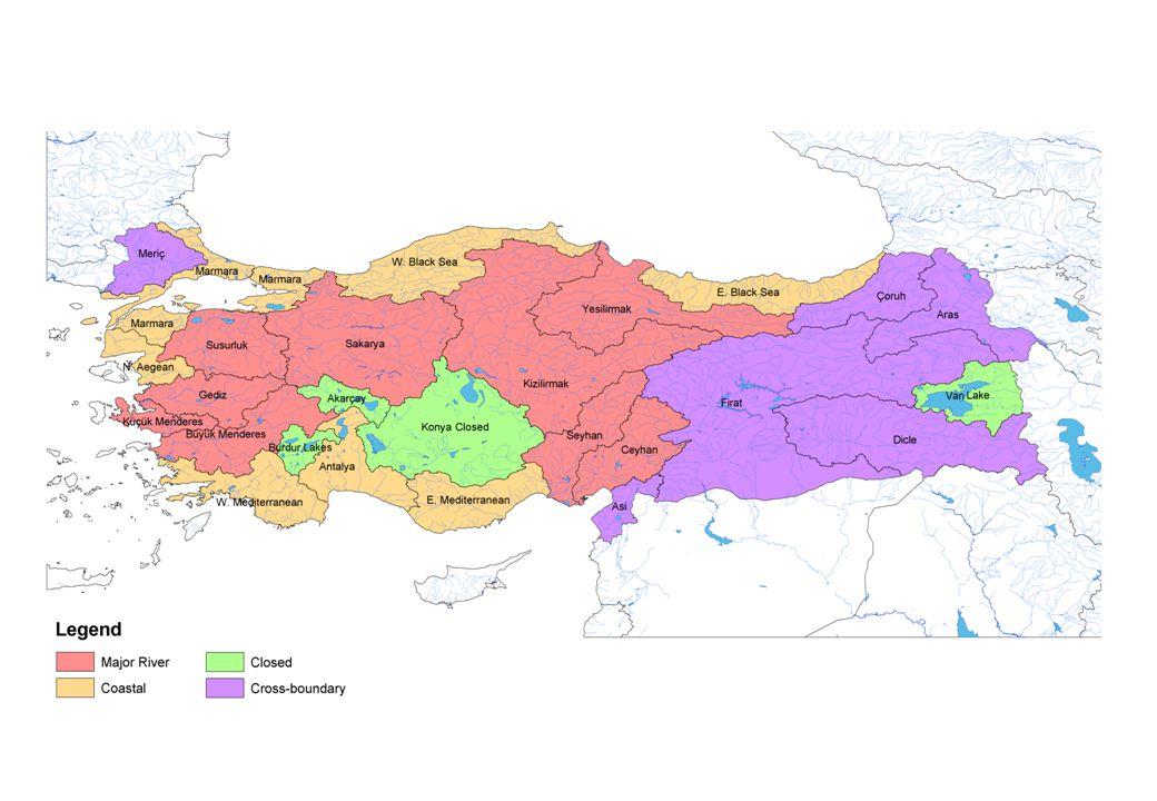 Su Havzalarının karakteristikleri (DSİ, 1995) Region No.