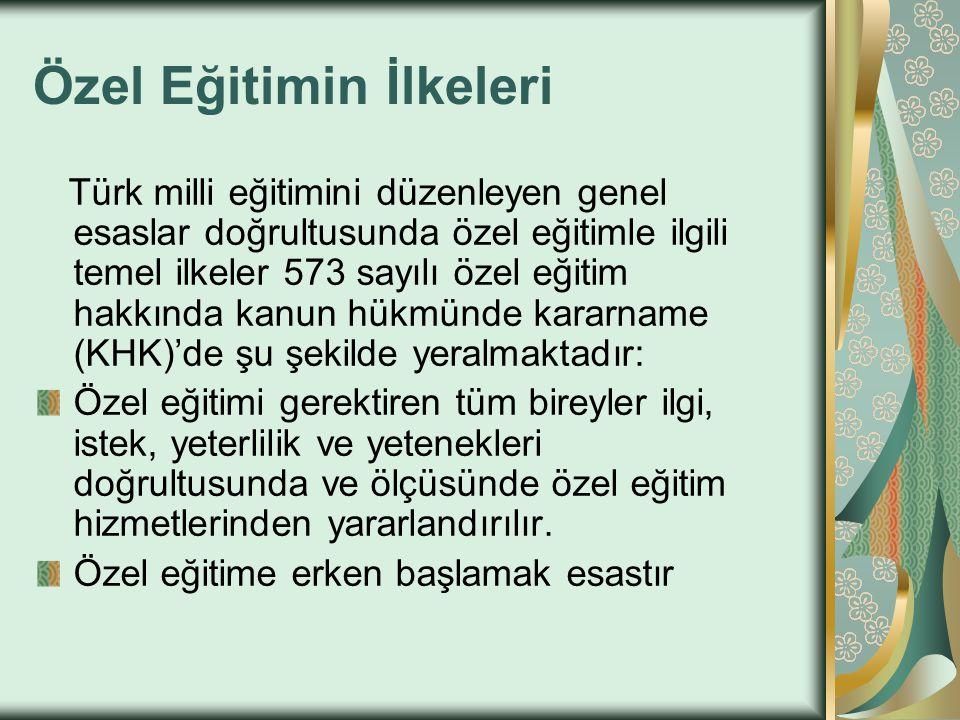 Özel Eğitimin İlkeleri Türk milli eğitimini düzenleyen genel esaslar doğrultusunda özel eğitimle ilgili temel ilkeler 573 sayılı özel eğitim hakkında