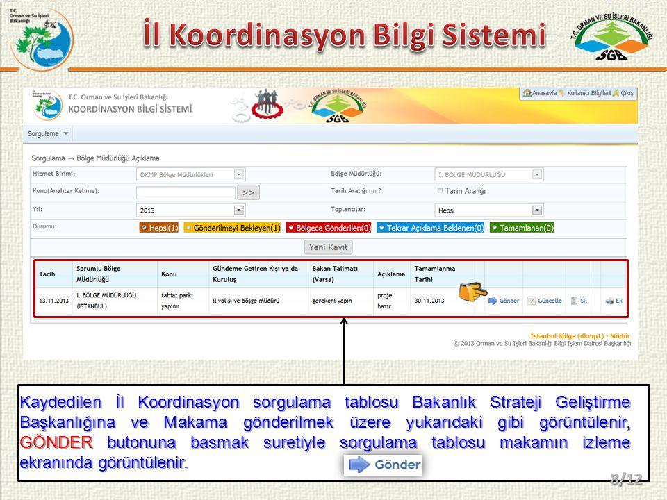 Bölge Müdürlüklerince gönderilen sorgulama tablosu yukardaki gibi makamın ekranında görüntülenir.