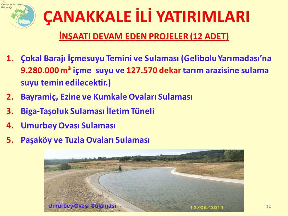 İNŞAATI DEVAM EDEN PROJELER (12 ADET) 1.Çokal Barajı İçmesuyu Temini ve Sulaması (Gelibolu Yarımadası'na 9.280.000 m³ içme suyu ve 127.570 dekar tarım