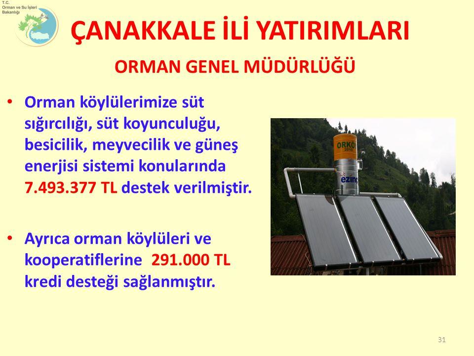 Orman köylülerimize süt sığırcılığı, süt koyunculuğu, besicilik, meyvecilik ve güneş enerjisi sistemi konularında 7.493.377 TL destek verilmiştir. Ayr