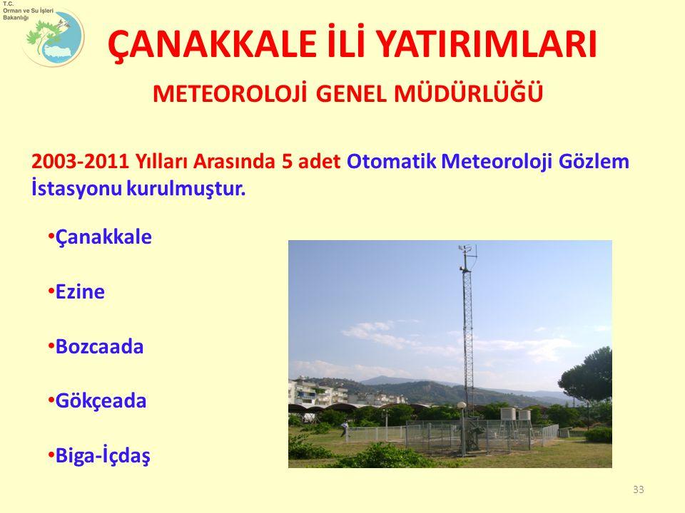 ÇANAKKALE İLİ YATIRIMLARI Çanakkale Ezine Bozcaada Gökçeada Biga-İçdaş METEOROLOJİ GENEL MÜDÜRLÜĞÜ 2003-2011 Yılları Arasında 5 adet Otomatik Meteorol