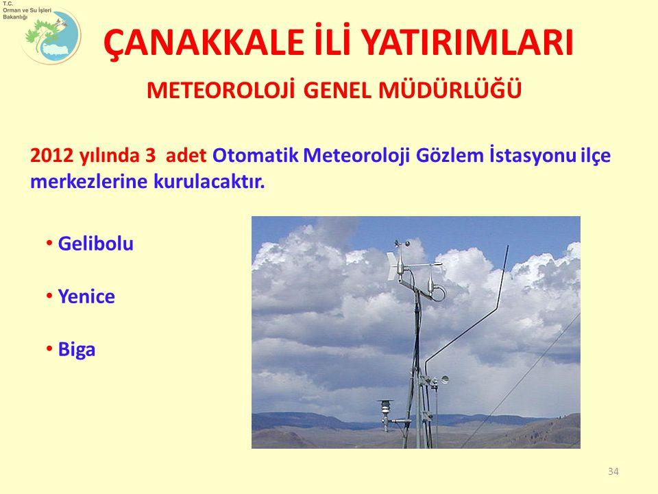 ÇANAKKALE İLİ YATIRIMLARI Gelibolu Yenice Biga METEOROLOJİ GENEL MÜDÜRLÜĞÜ 2012 yılında 3 adet Otomatik Meteoroloji Gözlem İstasyonu ilçe merkezlerine