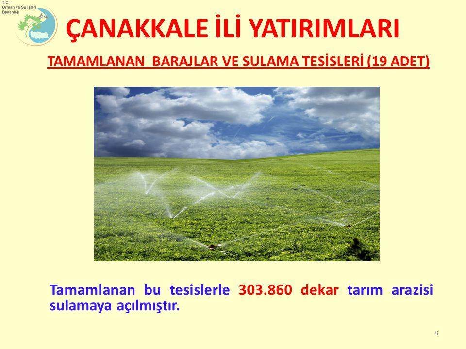 ÇANAKKALE İLİ YATIRIMLARI TAMAMLANAN BARAJLAR VE SULAMA TESİSLERİ (19 ADET) 8 Tamamlanan bu tesislerle 303.860 dekar tarım arazisi sulamaya açılmıştır