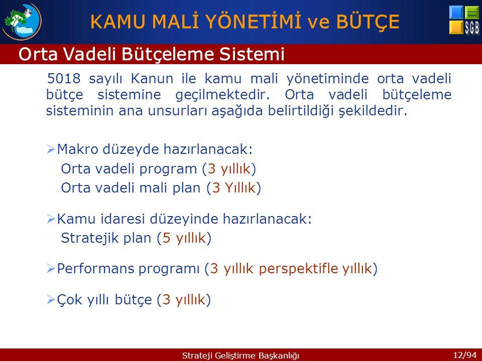 12/94 Strateji Geliştirme Başkanlığı 5018 sayılı Kanun ile kamu mali yönetiminde orta vadeli bütçe sistemine geçilmektedir. Orta vadeli bütçeleme sist