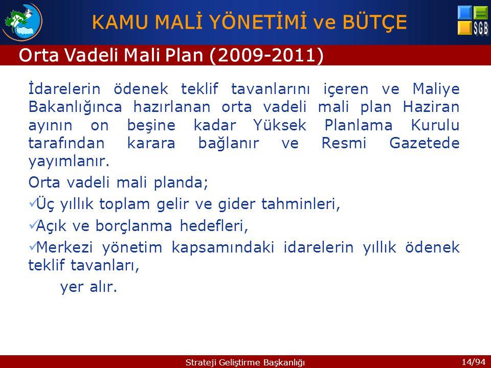 14/94 Strateji Geliştirme Başkanlığı İdarelerin ödenek teklif tavanlarını içeren ve Maliye Bakanlığınca hazırlanan orta vadeli mali plan Haziran ayını