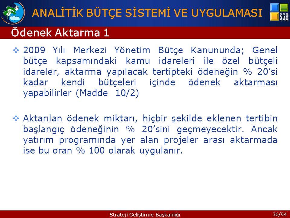 36/94 Strateji Geliştirme Başkanlığı  2009 Yılı Merkezi Yönetim Bütçe Kanununda; Genel bütçe kapsamındaki kamu idareleri ile özel bütçeli idareler, a