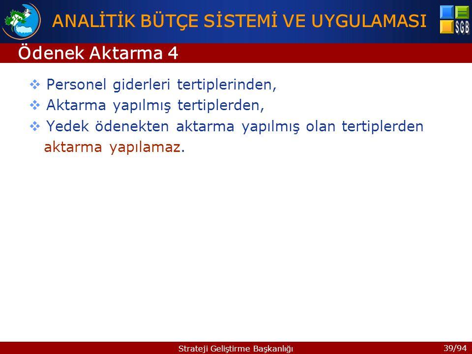 39/94 Strateji Geliştirme Başkanlığı  Personel giderleri tertiplerinden,  Aktarma yapılmış tertiplerden,  Yedek ödenekten aktarma yapılmış olan ter