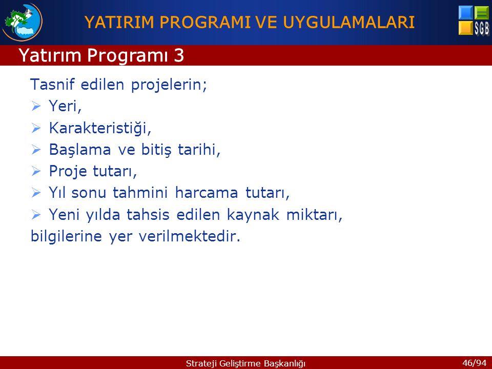 46/94 Strateji Geliştirme Başkanlığı Tasnif edilen projelerin;  Yeri,  Karakteristiği,  Başlama ve bitiş tarihi,  Proje tutarı,  Yıl sonu tahmini