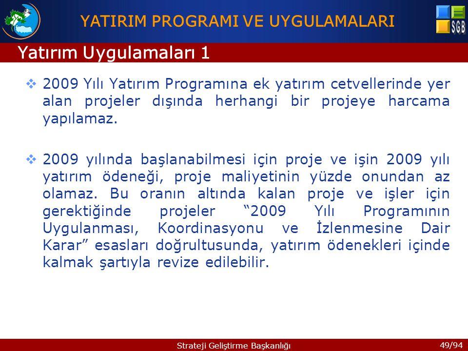 49/94 Strateji Geliştirme Başkanlığı  2009 Yılı Yatırım Programına ek yatırım cetvellerinde yer alan projeler dışında herhangi bir projeye harcama yapılamaz.