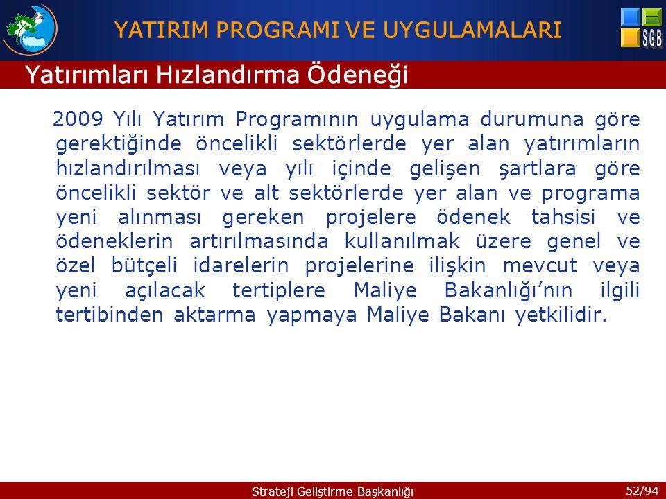 52/94 Strateji Geliştirme Başkanlığı 2009 Yılı Yatırım Programının uygulama durumuna göre gerektiğinde öncelikli sektörlerde yer alan yatırımların hız