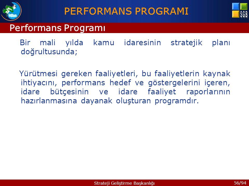 56/94 Strateji Geliştirme Başkanlığı Bir mali yılda kamu idaresinin stratejik planı doğrultusunda; Yürütmesi gereken faaliyetleri, bu faaliyetlerin ka