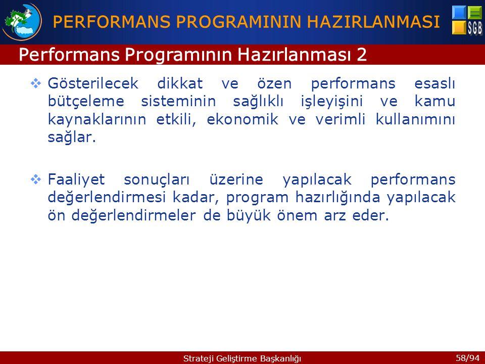 58/94 Strateji Geliştirme Başkanlığı  Gösterilecek dikkat ve özen performans esaslı bütçeleme sisteminin sağlıklı işleyişini ve kamu kaynaklarının et