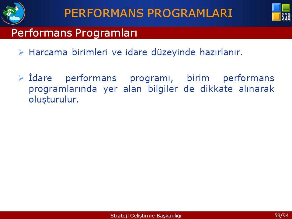 59/94 Strateji Geliştirme Başkanlığı  Harcama birimleri ve idare düzeyinde hazırlanır.  İdare performans programı, birim performans programlarında y