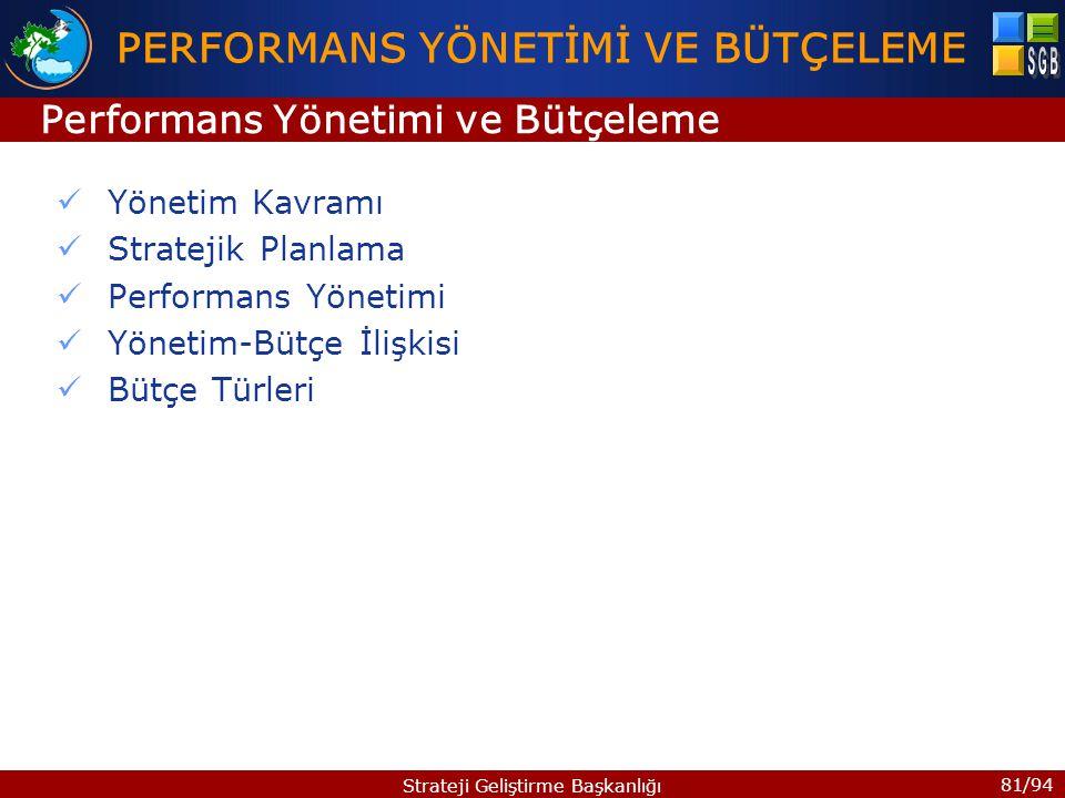 81/94 Strateji Geliştirme Başkanlığı Yönetim Kavramı Stratejik Planlama Performans Yönetimi Yönetim-Bütçe İlişkisi Bütçe Türleri PERFORMANS YÖNETİMİ V