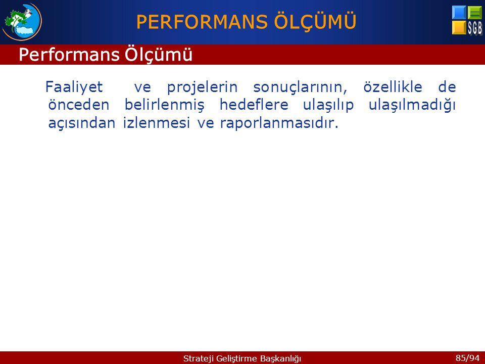 85/94 Strateji Geliştirme Başkanlığı Faaliyet ve projelerin sonuçlarının, özellikle de önceden belirlenmiş hedeflere ulaşılıp ulaşılmadığı açısından i