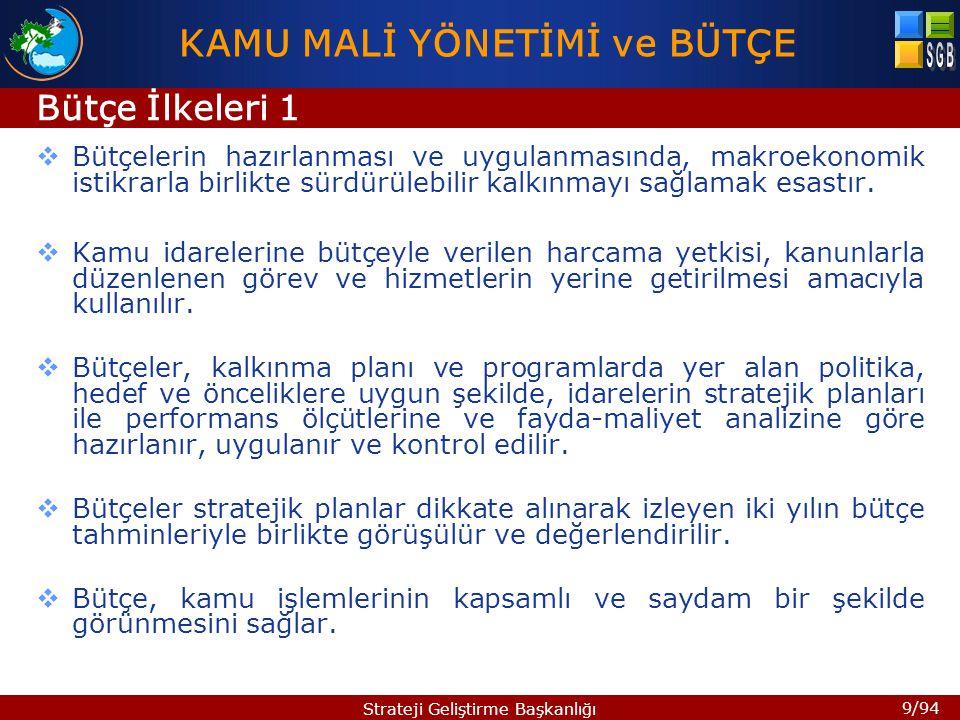 9/94 Strateji Geliştirme Başkanlığı  Bütçelerin hazırlanması ve uygulanmasında, makroekonomik istikrarla birlikte sürdürülebilir kalkınmayı sağlamak