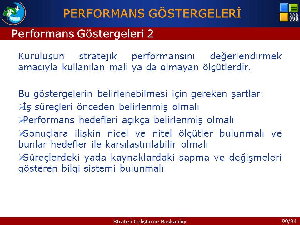 90/94 Strateji Geliştirme Başkanlığı Kuruluşun stratejik performansını değerlendirmek amacıyla kullanılan mali ya da olmayan ölçütlerdir. Bu göstergel