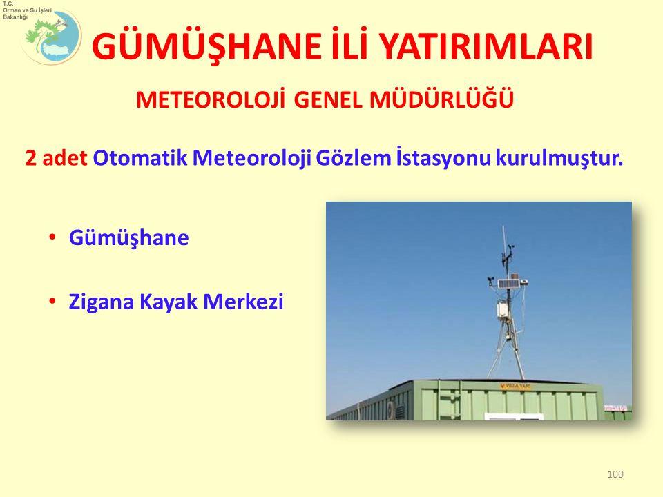 GÜMÜŞHANE İLİ YATIRIMLARI METEOROLOJİ GENEL MÜDÜRLÜĞÜ 100 Gümüşhane Zigana Kayak Merkezi 2 adet Otomatik Meteoroloji Gözlem İstasyonu kurulmuştur.