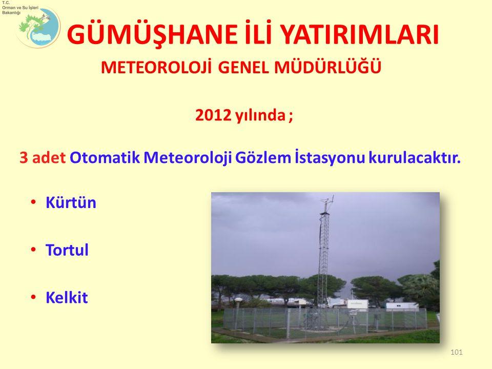 GÜMÜŞHANE İLİ YATIRIMLARI METEOROLOJİ GENEL MÜDÜRLÜĞÜ 2012 yılında ; 3 adet Otomatik Meteoroloji Gözlem İstasyonu kurulacaktır. 101 Kürtün Tortul Kelk