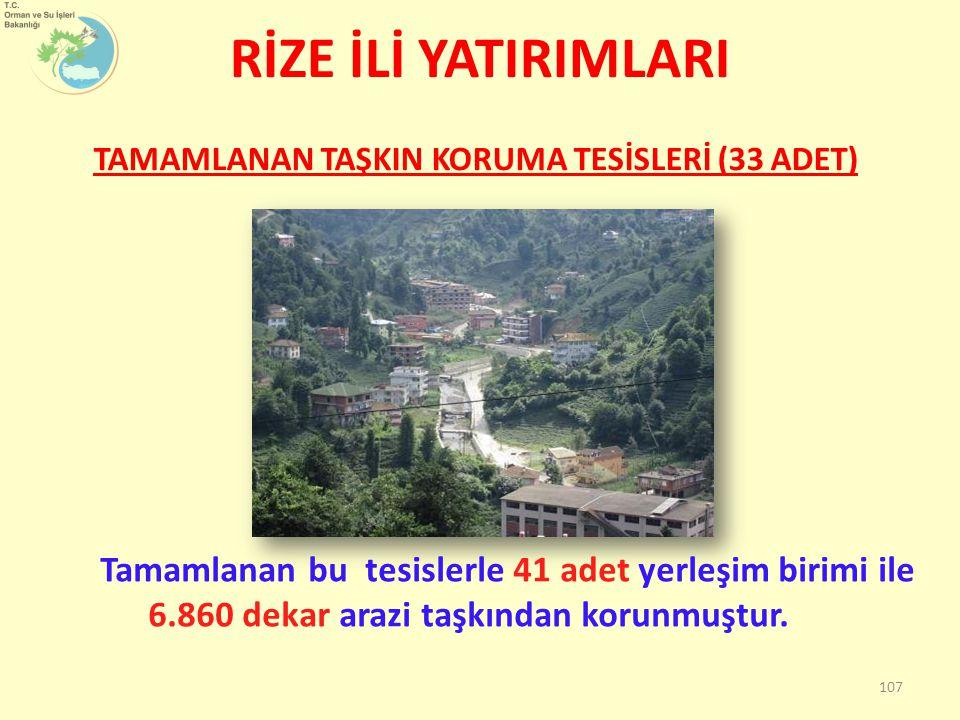 Tamamlanan bu tesislerle 41 adet yerleşim birimi ile 6.860 dekar arazi taşkından korunmuştur.