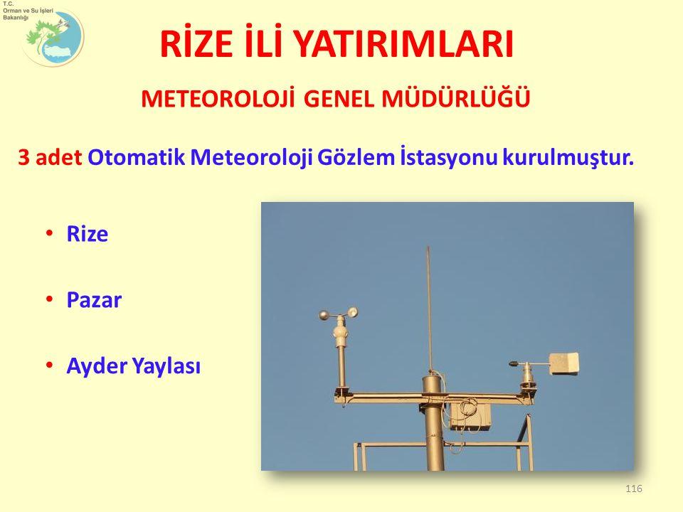 RİZE İLİ YATIRIMLARI 3 adet Otomatik Meteoroloji Gözlem İstasyonu kurulmuştur. METEOROLOJİ GENEL MÜDÜRLÜĞÜ 116 Rize Pazar Ayder Yaylası