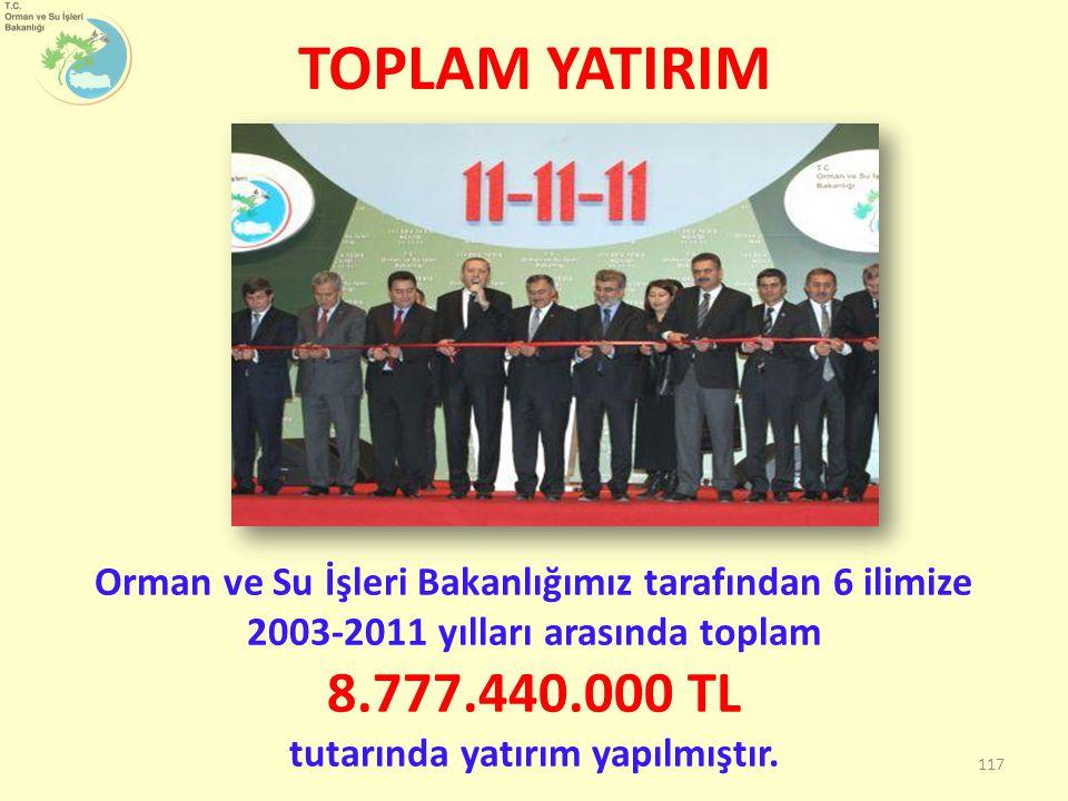 TOPLAM YATIRIM Orman ve Su İşleri Bakanlığımız tarafından 6 ilimize 2003-2011 yılları arasında toplam 8.777.440.000 TL tutarında yatırım yapılmıştır.