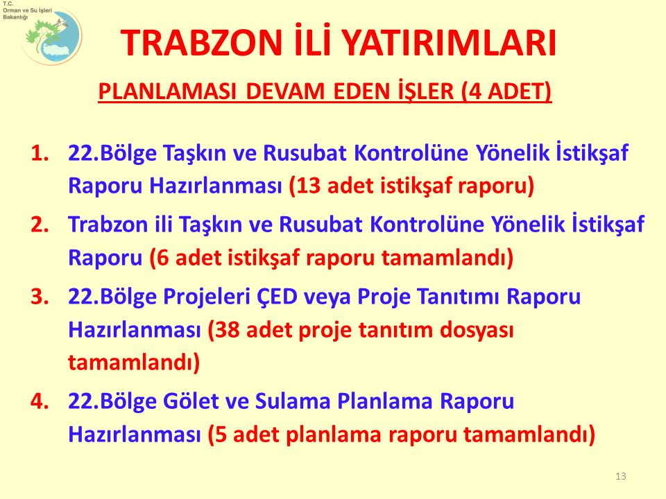 1.22.Bölge Taşkın ve Rusubat Kontrolüne Yönelik İstikşaf Raporu Hazırlanması (13 adet istikşaf raporu) 2.Trabzon ili Taşkın ve Rusubat Kontrolüne Yönelik İstikşaf Raporu (6 adet istikşaf raporu tamamlandı) 3.22.Bölge Projeleri ÇED veya Proje Tanıtımı Raporu Hazırlanması (38 adet proje tanıtım dosyası tamamlandı) 4.22.Bölge Gölet ve Sulama Planlama Raporu Hazırlanması (5 adet planlama raporu tamamlandı) PLANLAMASI DEVAM EDEN İŞLER (4 ADET) TRABZON İLİ YATIRIMLARI 13