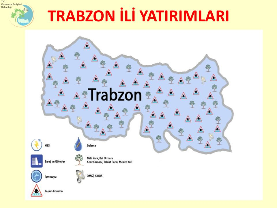 Orman ve Su İşleri Bakanlığı tarafından Trabzon ilimize 2003-2011 yılları arasında toplam 493.000.000 TL yatırım yapılmıştır.