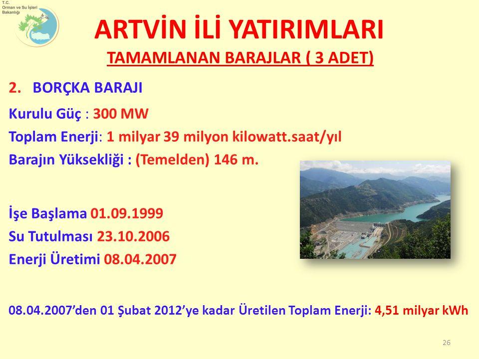 TAMAMLANAN BARAJLAR ( 3 ADET) 2.BORÇKA BARAJI Kurulu Güç : 300 MW Toplam Enerji: 1 milyar 39 milyon kilowatt.saat/yıl Barajın Yüksekliği : (Temelden)
