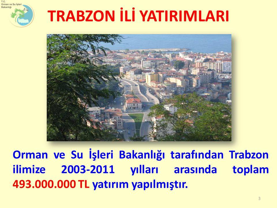 Orman ve Su İşleri Bakanlığı tarafından Trabzon ilimize 2003-2011 yılları arasında toplam 493.000.000 TL yatırım yapılmıştır. 3