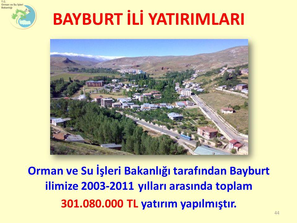 BAYBURT İLİ YATIRIMLARI Orman ve Su İşleri Bakanlığı tarafından Bayburt ilimize 2003-2011 yılları arasında toplam 301.080.000 TL yatırım yapılmıştır.