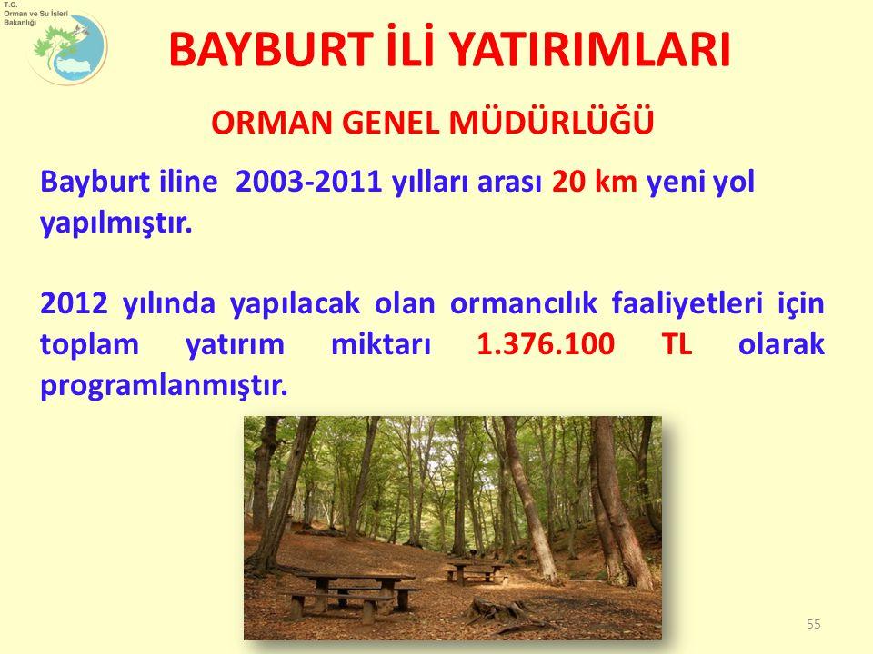 BAYBURT İLİ YATIRIMLARI Bayburt iline 2003-2011 yılları arası 20 km yeni yol yapılmıştır. 2012 yılında yapılacak olan ormancılık faaliyetleri için top