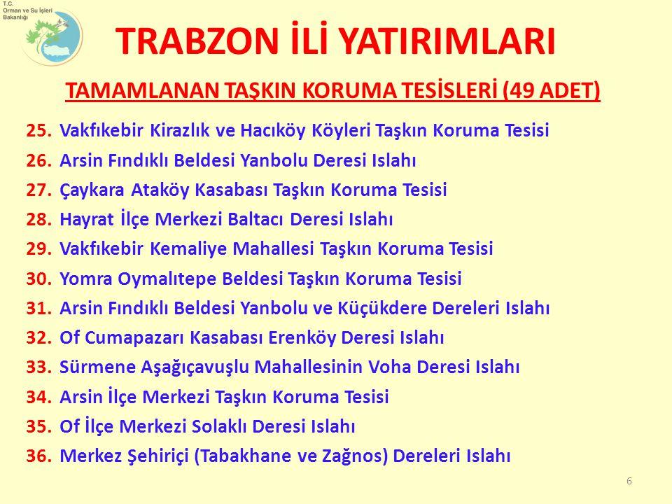 37.Merkez Yalıncak ve Kaşüstü Beldesi Taşkın Koruma Tesisi 38.Trabzon-Merkez Değirmendere Vadisi Islahı 1.