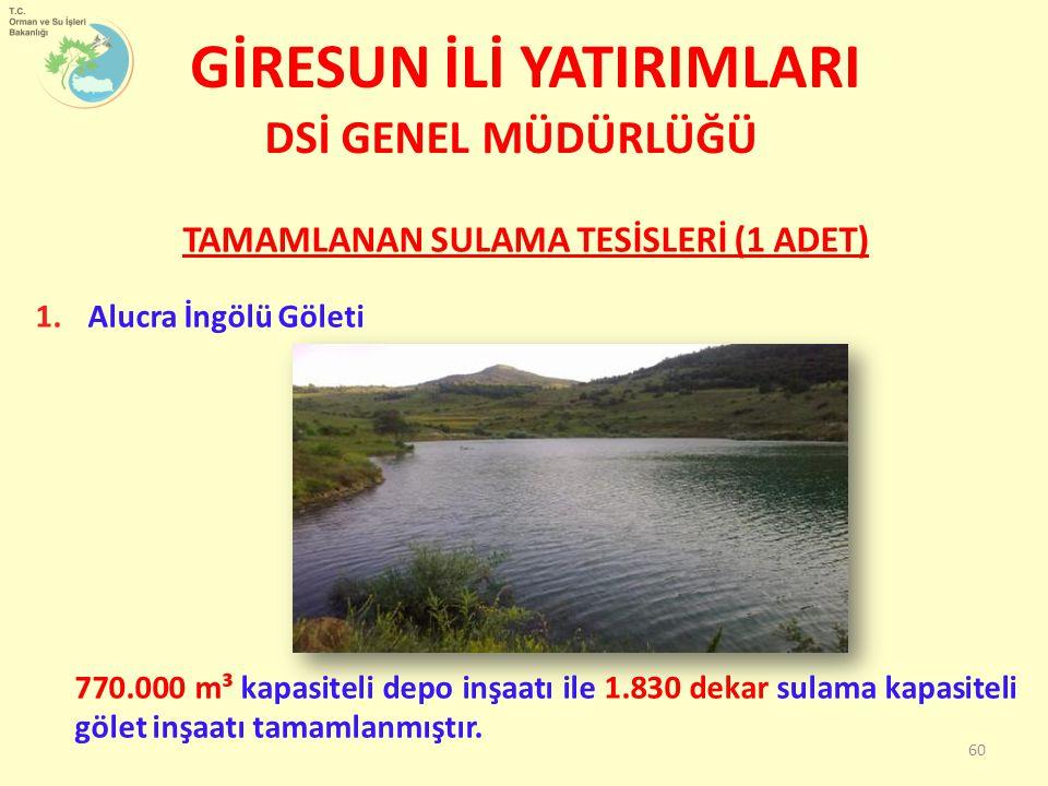 TAMAMLANAN SULAMA TESİSLERİ (1 ADET) 1.Alucra İngölü Göleti 770.000 m³ kapasiteli depo inşaatı ile 1.830 dekar sulama kapasiteli gölet inşaatı tamamlanmıştır.
