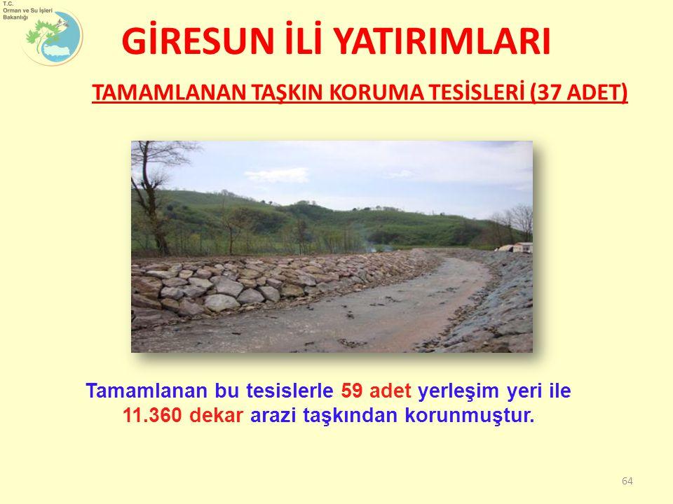 GİRESUN İLİ YATIRIMLARI 64 TAMAMLANAN TAŞKIN KORUMA TESİSLERİ (37 ADET) Tamamlanan bu tesislerle 59 adet yerleşim yeri ile 11.360 dekar arazi taşkından korunmuştur.