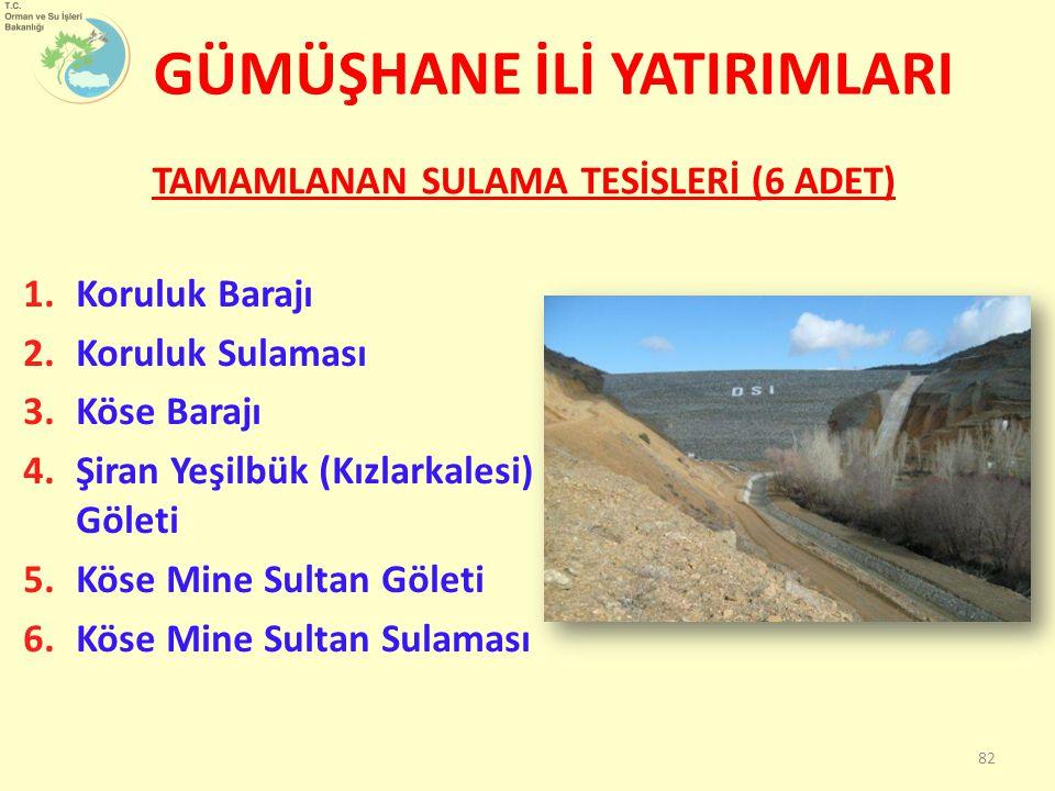 GÜMÜŞHANE İLİ YATIRIMLARI TAMAMLANAN SULAMA TESİSLERİ (6 ADET) 82 1.Koruluk Barajı 2.Koruluk Sulaması 3.Köse Barajı 4.Şiran Yeşilbük (Kızlarkalesi) Göleti 5.Köse Mine Sultan Göleti 6.Köse Mine Sultan Sulaması