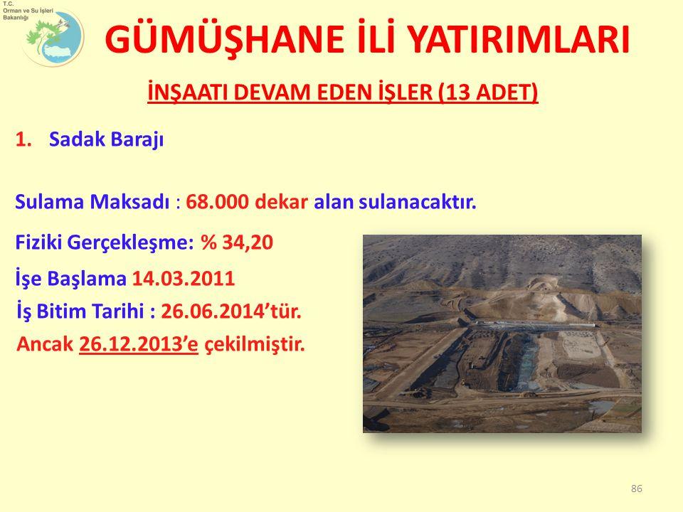 İNŞAATI DEVAM EDEN İŞLER (13 ADET) 1.Sadak Barajı Sulama Maksadı : 68.000 dekar alan sulanacaktır.