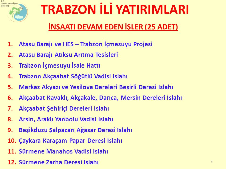 TRABZON İLİ YATIRIMLARI Trabzon İline 2003-2011 yılları arası 104 km yeni yol, 89 km büyük onarım, 152 km üst yapı, 208 km sanat yapısı olmak üzere 553 km yatırım faaliyeti yapılmıştır.