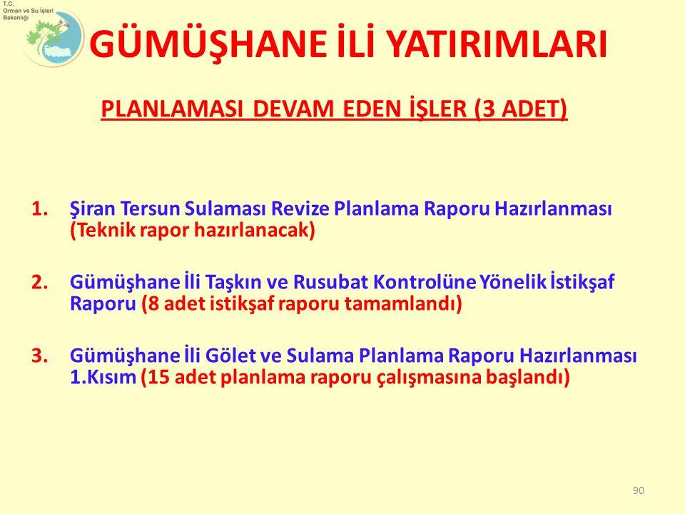 1.Şiran Tersun Sulaması Revize Planlama Raporu Hazırlanması (Teknik rapor hazırlanacak) 2.Gümüşhane İli Taşkın ve Rusubat Kontrolüne Yönelik İstikşaf Raporu (8 adet istikşaf raporu tamamlandı) 3.Gümüşhane İli Gölet ve Sulama Planlama Raporu Hazırlanması 1.Kısım (15 adet planlama raporu çalışmasına başlandı) PLANLAMASI DEVAM EDEN İŞLER (3 ADET) GÜMÜŞHANE İLİ YATIRIMLARI 90