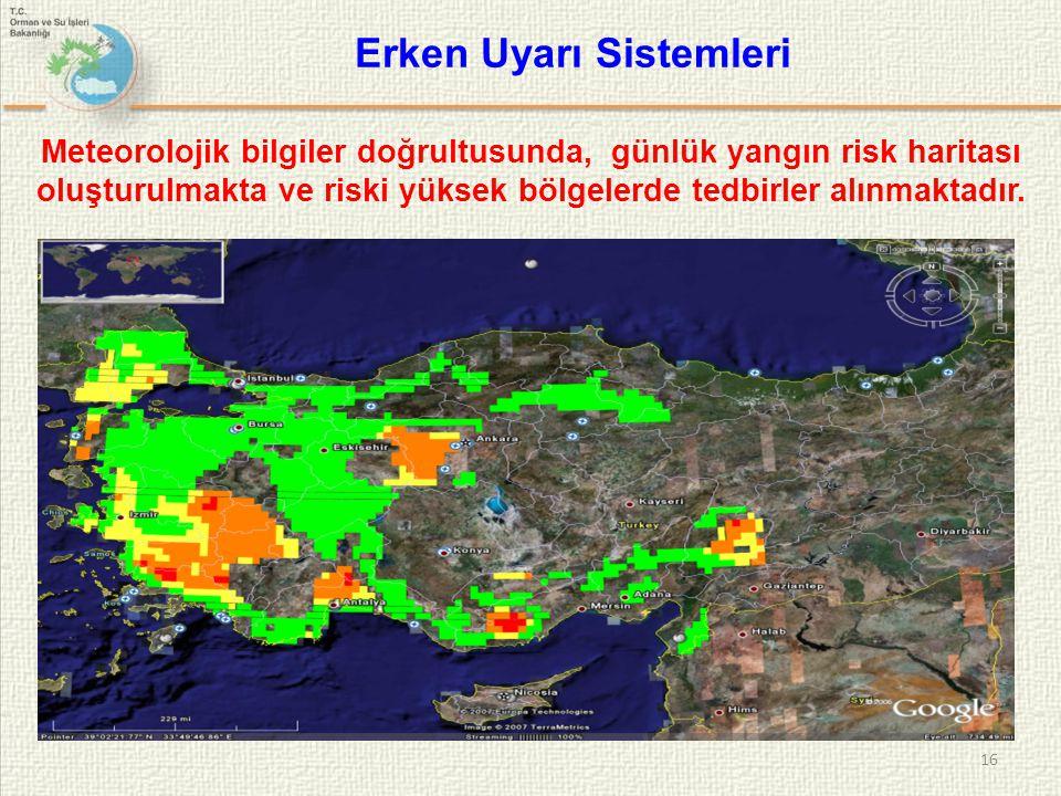 16 Meteorolojik bilgiler doğrultusunda, günlük yangın risk haritası oluşturulmakta ve riski yüksek bölgelerde tedbirler alınmaktadır. Erken Uyarı Sist
