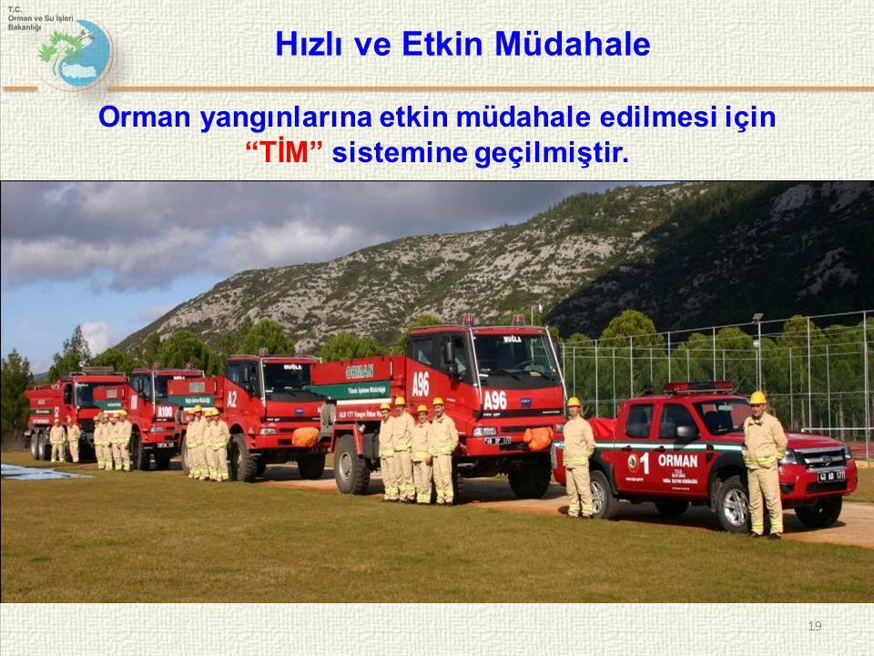 """19 Hızlı ve Etkin Müdahale Orman yangınlarına etkin müdahale edilmesi için """"TİM"""" sistemine geçilmiştir."""