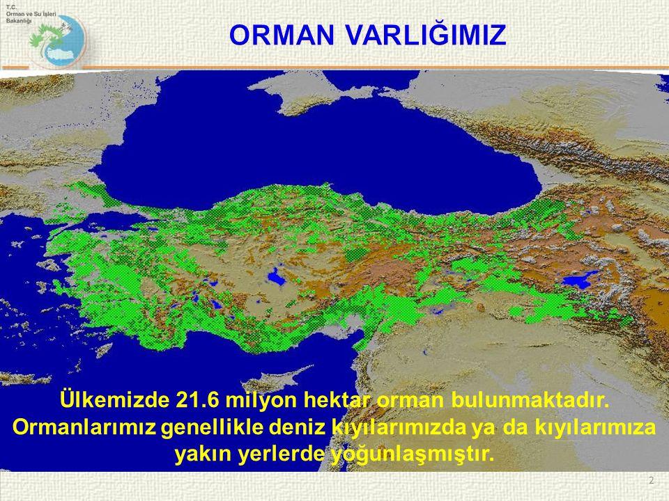 2 Ülkemizde 21.6 milyon hektar orman bulunmaktadır. Ormanlarımız genellikle deniz kıyılarımızda ya da kıyılarımıza yakın yerlerde yoğunlaşmıştır.