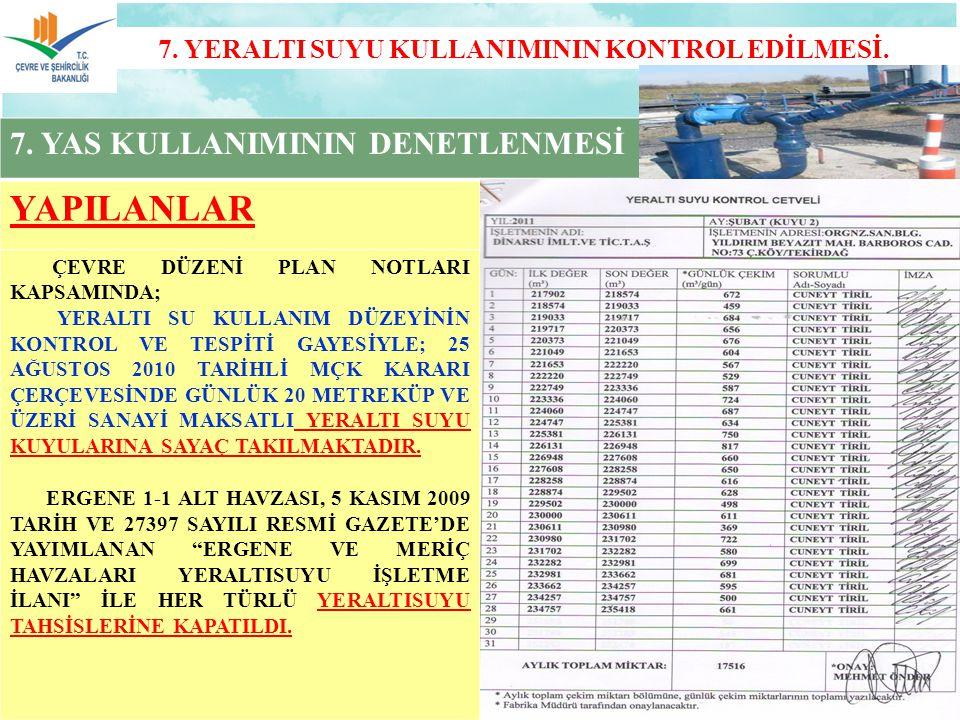 7.YERALTI SUYU KULLANIMININ KONTROL EDİLMESİ. 7.