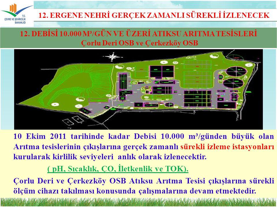 10 Ekim 2011 tarihinde kadar Debisi 10.000 m³/günden büyük olan Arıtma tesislerinin çıkışlarına gerçek zamanlı sürekli izleme istasyonları kurularak k